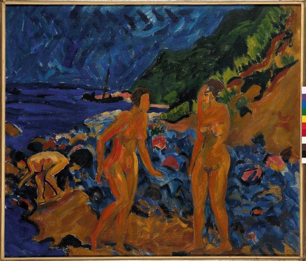 Erich Heckel, Figuren am Strand, 1912, Öl auf Leinwand (Nachlass Erich Heckel, Hemmenhofen)