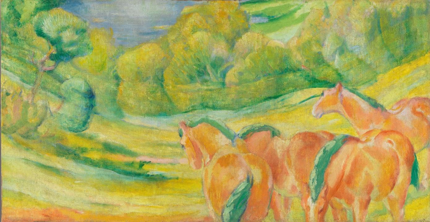 Franz Marc Große Landschaft I, 1910 Öl auf Leinwand, 110,5 x 211,5 cm (Bayerische Staatsgemäldesammlungen, Nicole Wilhelms)