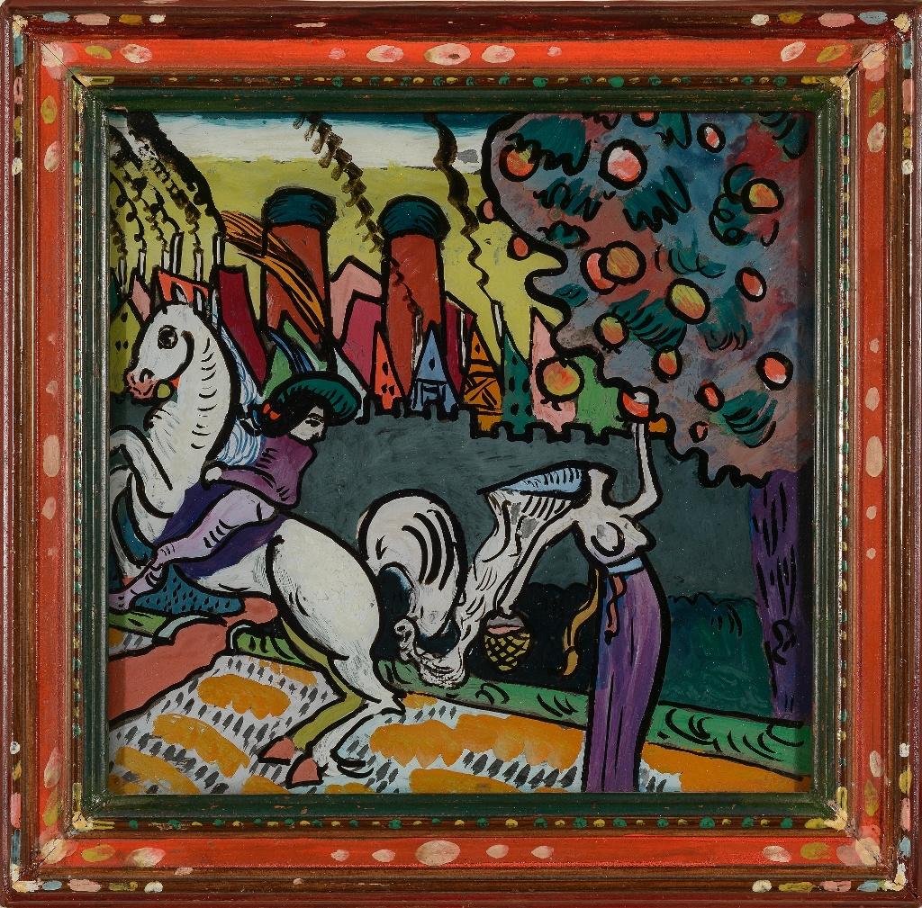 Wassilly Kandinsky, Mythologische Szene (Reiter und Apfelpflückerin), 1911 Öl auf Glas, 15,5 x 19,8 cm (Walter Bayer, München)