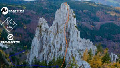 Adlerspitze Normalweg Topo / Übersichtsbild der Klettertour