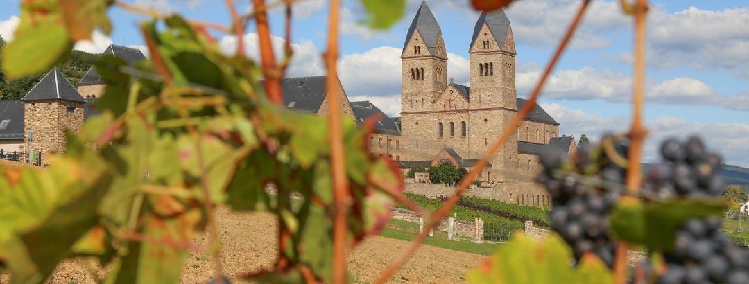 Blick auf die Abtei St. Hildegard