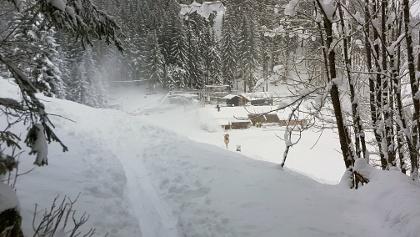 Der Weg endet etwas oberhalb des Kolbensattels