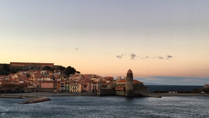 Collioure sea-front at sunset