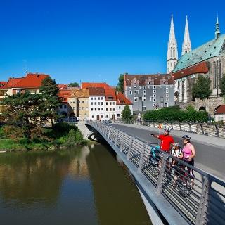 Görlitzer Altstadtbrücke mit Radfahrern