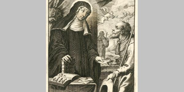 Hildegard überreicht dem Boten einen Brief, Kupferstich von 1675