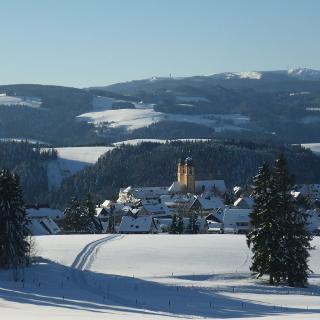 Blick über St. Märgen, im Hintergrund der Feldberg