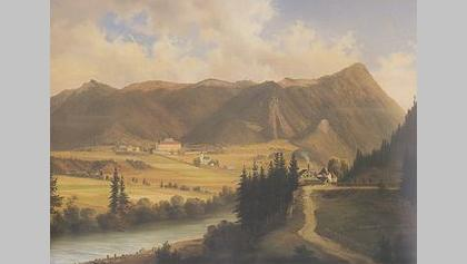 Freudenberg mit Magdalens- bzw. Christofberg, Südansicht, Markus Pernhart, Ölgemälde (1824-1871)