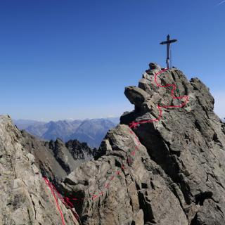 Dreiländerspitze mit eingezeichneter Route