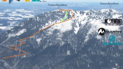 Übersichtsbild Rauschberg Südseite Skitour von Laubau (Topo)
