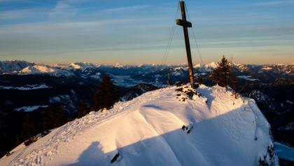Gipfelkreuz am Dürrnbachhorn im Morgenrot
