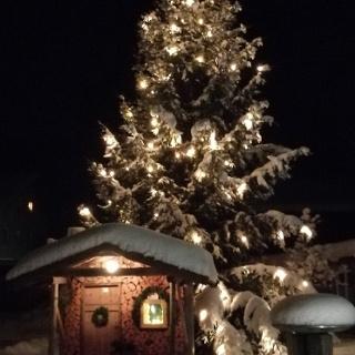 Adventsfenster Nr. 3 (2017/2018) auf dem Dorfplatz Ellhofen vor der großen Weihnachtstanne