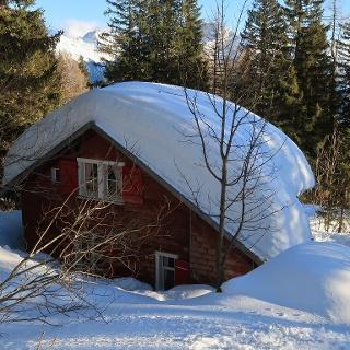 diese Hütte hat eine sehr schwere Last zu tragen