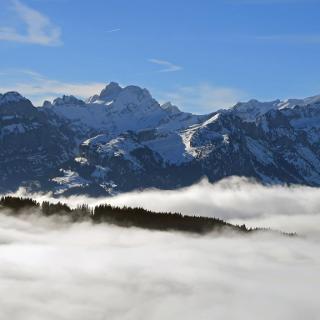 Zoom zum Säntis vom Sommersberg aus