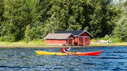 Kayaking close to Häyrylänranta harbour, Konnevesi