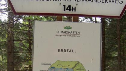 Geologischer Rundwanderweg in St. Margarethen - Infotafel zum Erdfall