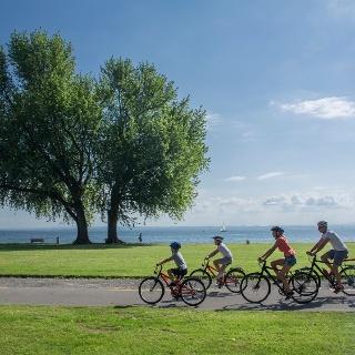 Die Familie geniesst die schöne Strecke auf dem Bodensee-Radweg