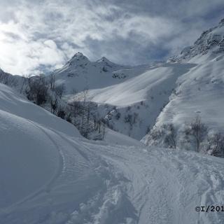 Fahrweg zur Alm , die Ellesspitze ist das erste mal zu sehen (rechter Spiitz)