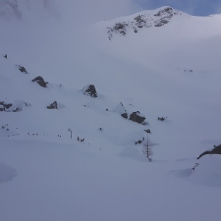 Im oberen Kar vor der letzten Steilstufe