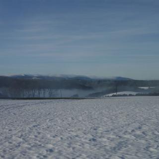 Blick vom Starpunkt am frühen Wintermorgen