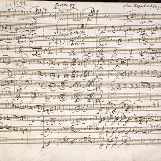 Handwritten composition by Wolfgang Amadeus Mozart
