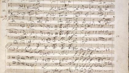 Handwritten composition by Wolfgang Amadeus Mozart