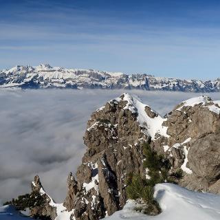 Blick vom Alpspitz über´s Rheintal hinweg zum Alpstein