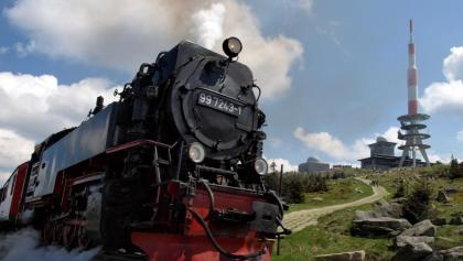 Passing the Brocken Railway during a hike up to the peak taking the Heinrich-Heine-Trail