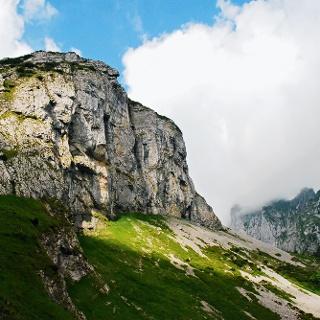 Die zerfurchten Felsen des Alpsteins.