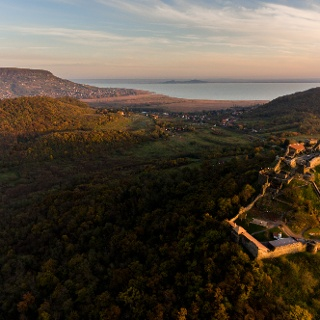 Castle of Szigliget with Badacsony Hill/Lake Balaton in the background and hills of Fonyód on the other side