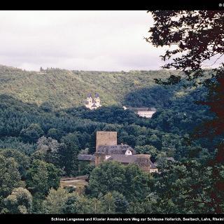 Schloss Langenau und Kloster Arnstein vom Weg zur Schleuse Hollerich