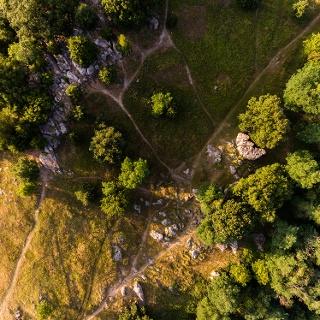The sea of rocks at Szentbékálla from above