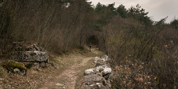 The trail to the Marocche di Dro, with the typical colors of March