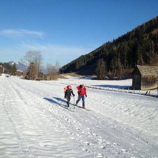 Ausreichend Schnee vom Parkplatz im Winklertal