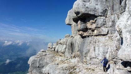 Eindrucksvoll sind die Felsen des Gipfelstocks des Mitterhorns.
