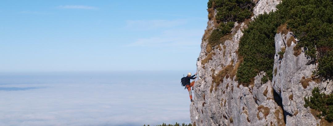 Blick zum kurzen Traunsee Klettersteig