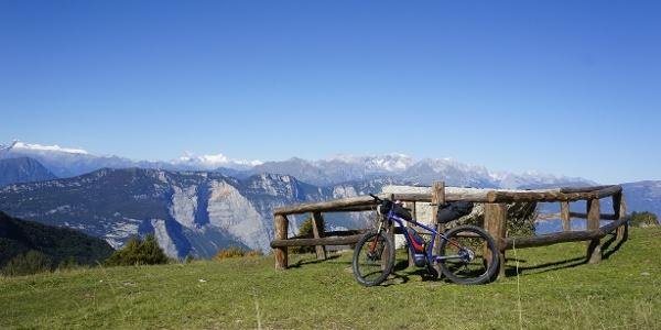 The view of the Brenta Dolomites at the Malga Campo