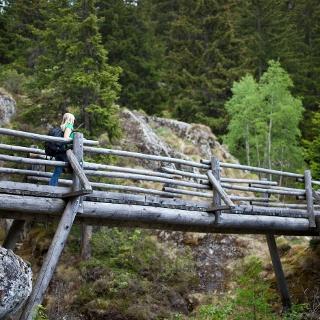 Holzbrücke die einen kleinen Bach überquert