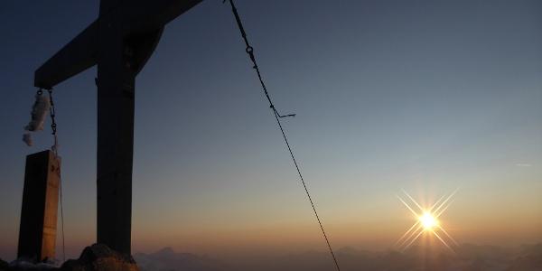 Auf der Weißkugel bei Sonnenaufgang
