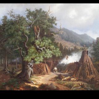 Köhlerszene im Harz, Gemälde von Robert Riefenstahl