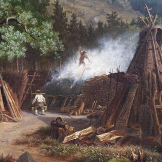 Köhlerszene im Harz. Ölgemälde von Robert Riefenstahl 1886