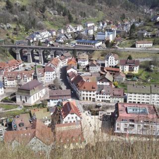 Blick von der Burg auf Hornberg und sein Eisenbahnviadukt