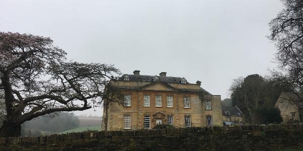Cherry tree and manor house
