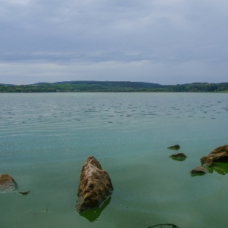 The Blue Trail runs on the lakeside of Fehérvárcsurgó Reservoir