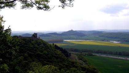 Aussicht vom Kaffberg, die rechteste Burg (Mühlburg) paßte nicht mehr auf den Ausschnitt vor der Linse
