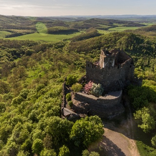 Castle of Hollókő from a bird's eye view