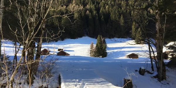Verschneite Maiesäss (Alphütten) bei Vättis