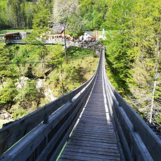 Die Hängebrücke über die Salza gleich am Anfang