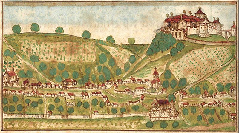 Etwa im Jahr 1230 errichteten die Schenken von Limpurg ihre Burg oberhalb von Unterlimpurg (kolorierte Federzeichnung aus einer Haller Chronik um 1600).   - © Quelle: Stadtarchiv Schwäbisch Hall