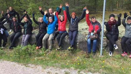 Happy pilgrims on the road