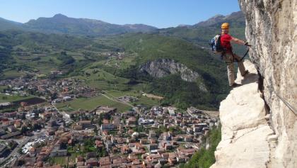 Via Ferrata Monte Albano. with view over Mori